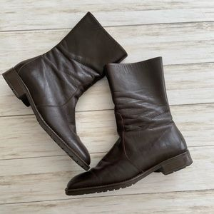 J Crew 💯 Leather Ankle Boot. They are dark brown.